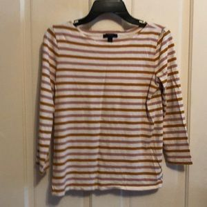 J CREW striped 3/4 sleeve tee Like New condition